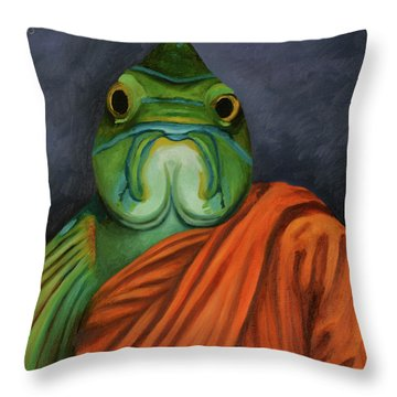 Throw Pillow featuring the painting Monk Fish by Leah Saulnier The Painting Maniac