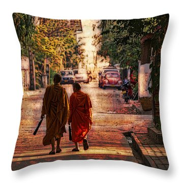 Monk Mates Throw Pillow by Cameron Wood