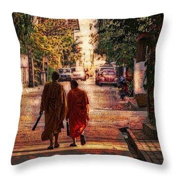 Monk Mates Throw Pillow