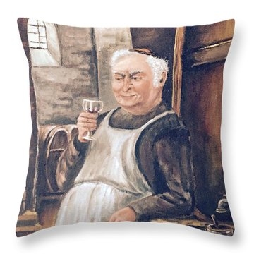 Monk With Wine Throw Pillow