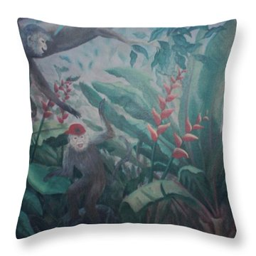 Monkees In The Jungle Throw Pillow