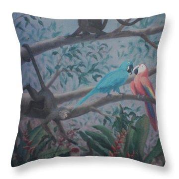 Monkey Artist Painting The Moon  Throw Pillow
