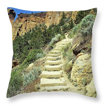 Throw Pillow featuring the digital art Monkey Face Rock - Smith Rock National Park, Oregon by Joseph Hendrix