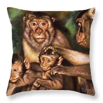 Monkey Family Throw Pillow