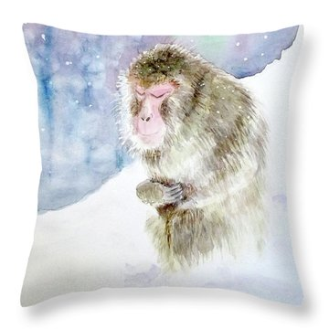 Throw Pillow featuring the painting Monkey In Meditation by Yoshiko Mishina