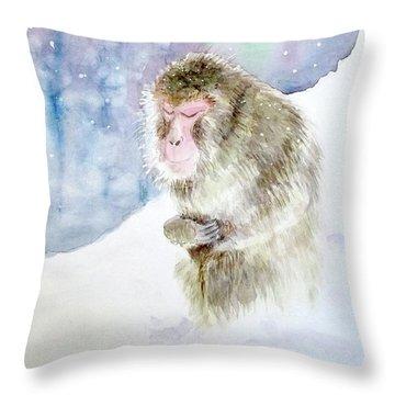 Monkey In Meditation Throw Pillow by Yoshiko Mishina