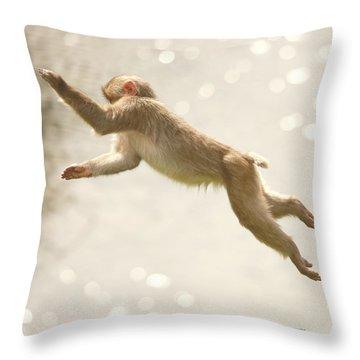Monkey Jump Throw Pillow by Roy  McPeak
