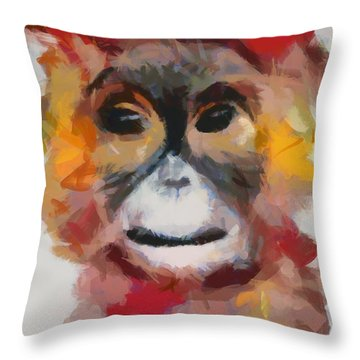 Monkey Splat Throw Pillow