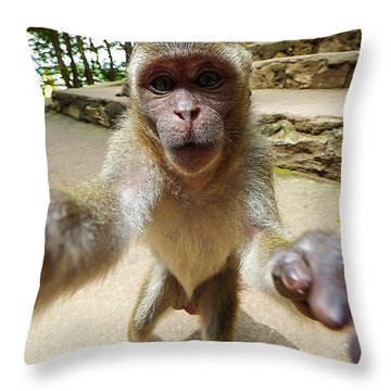 Monkey Taking A Selfie Throw Pillow