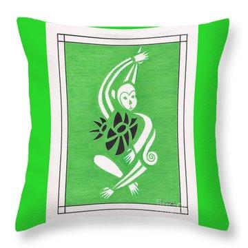Monkeying Around -- Whimsical Stylized Monkey Throw Pillow