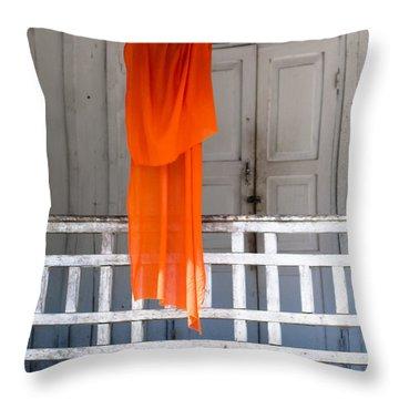 Monk's Robe Hanging Out To Dry, Luang Prabang, Laos Throw Pillow