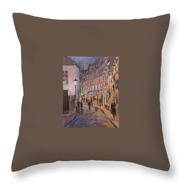 Throw Pillow featuring the painting Monmartre by Walter Casaravilla
