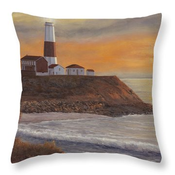 Monntauk Lighthouse Sunset Throw Pillow by Diane Romanello