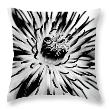 Mono Clematis Throw Pillow