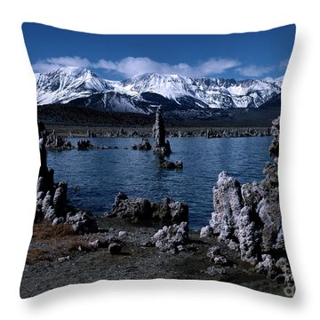 Mono Lake-signed Throw Pillow by J L Woody Wooden