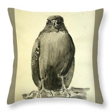 Monochromatic Hawk Throw Pillow