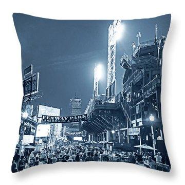 Monochrome Blue Nights Boston Ma Lansdowne St Fenway Park Game Night Throw Pillow