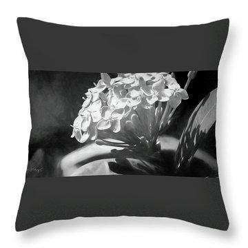 Monochrome Flora Throw Pillow