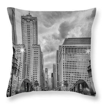 Monochrome Image Of The Marshall Suloway And Lasalle Street Canyon Over Chicago River - Illinois Throw Pillow by Silvio Ligutti