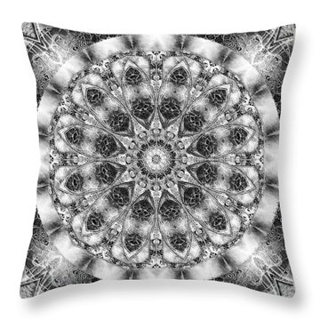 Throw Pillow featuring the digital art Monochrome Kaleidoscope by Charmaine Zoe