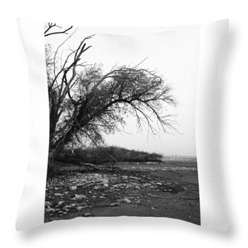 #monochrome #lake #landscape  #stausee Throw Pillow