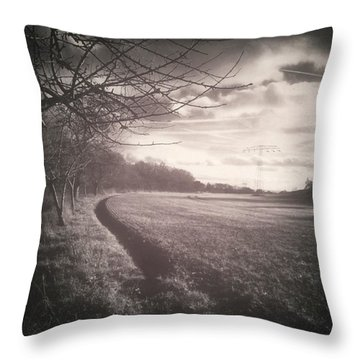 #monochrome #landscape  #field #trees Throw Pillow