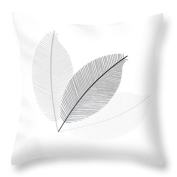 Monochrome Leaves Throw Pillow