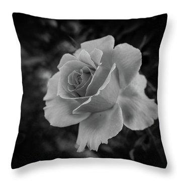 Monochrome Rose Macro Throw Pillow