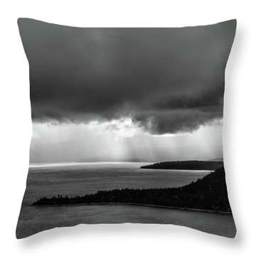 Monochrome Storm Panorama Throw Pillow
