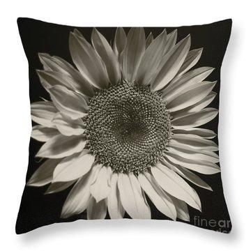 Monochrome Sunflower Throw Pillow