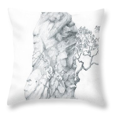 Throw Pillow featuring the drawing Monolith 2 by Curtiss Shaffer