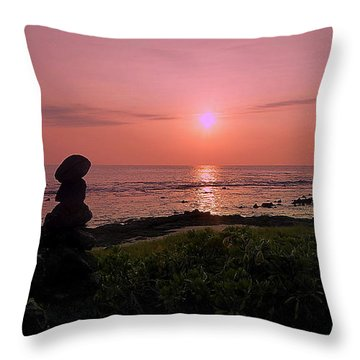 Throw Pillow featuring the photograph Monoliths At Sunset by Lori Seaman