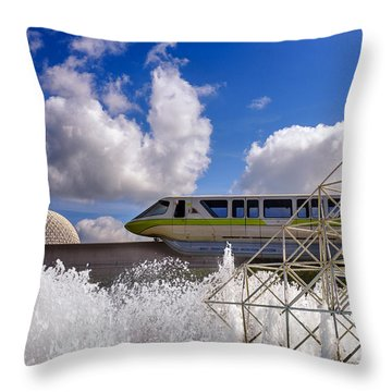 Monorail And Spaceship Earth Throw Pillow