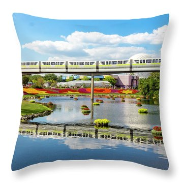 Monorail Cruise Over The Flower Garden. Throw Pillow