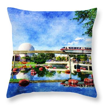 Monorail Red - Coming 'round The Bend Throw Pillow