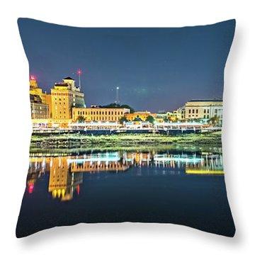 Monroe Louisiana City Skyline At Night Throw Pillow