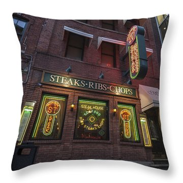 Throw Pillow featuring the photograph Monroe St Steakhouse by Nicholas Grunas