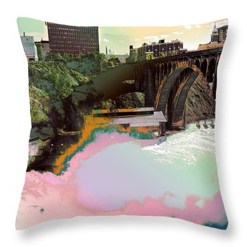 Grunge Monroe Street Plant  Throw Pillow