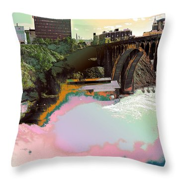 Throw Pillow featuring the photograph Grunge Monroe Street Plant  by Robert G Kernodle