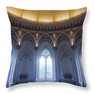 Throw Pillow featuring the photograph Monserrate Palace Room by Carlos Caetano