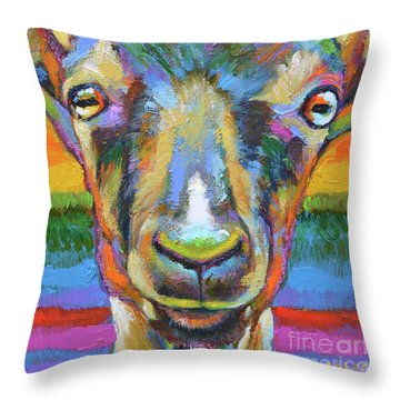 Throw Pillow featuring the painting Monsieur Goat by Robert Phelps