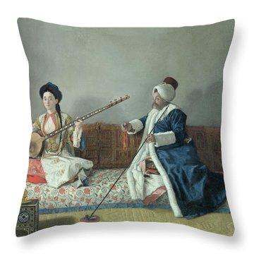 Monsieur Levett And Mademoiselle Helene Glavany In Turkish Costumes Throw Pillow by Jean Etienne Liotard