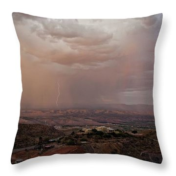 Monsoon Lightning And Rainbow Throw Pillow