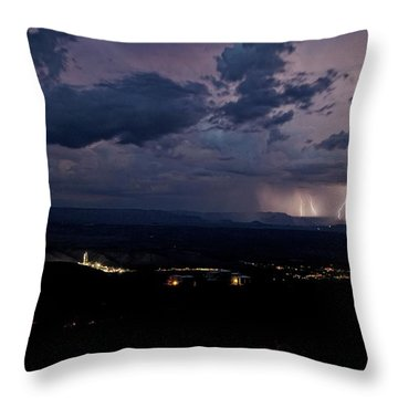 Monsoon Lightning Over Sedona From Jerome Az Throw Pillow