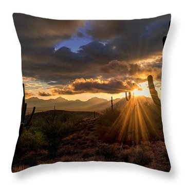 Monsoon Sunburst Throw Pillow by Anthony Citro
