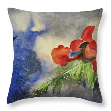 Monsoons  Throw Pillow by Geeta Biswas