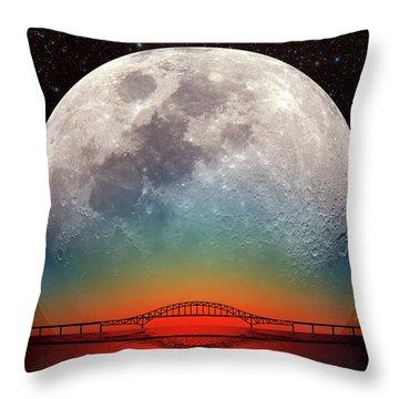 Monster Moonrise Throw Pillow