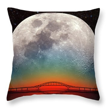 Throw Pillow featuring the photograph Monster Moonrise by Larry Landolfi