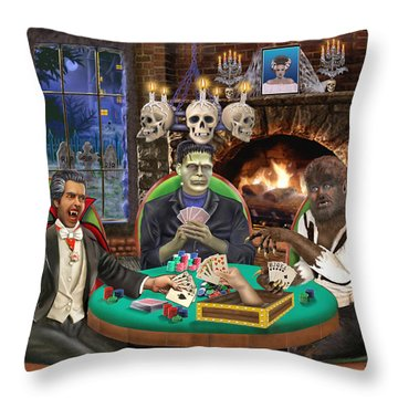 Monster Poker Throw Pillow by Glenn Holbrook