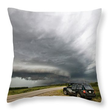 Monster Storm Near Yorkton Sk Throw Pillow